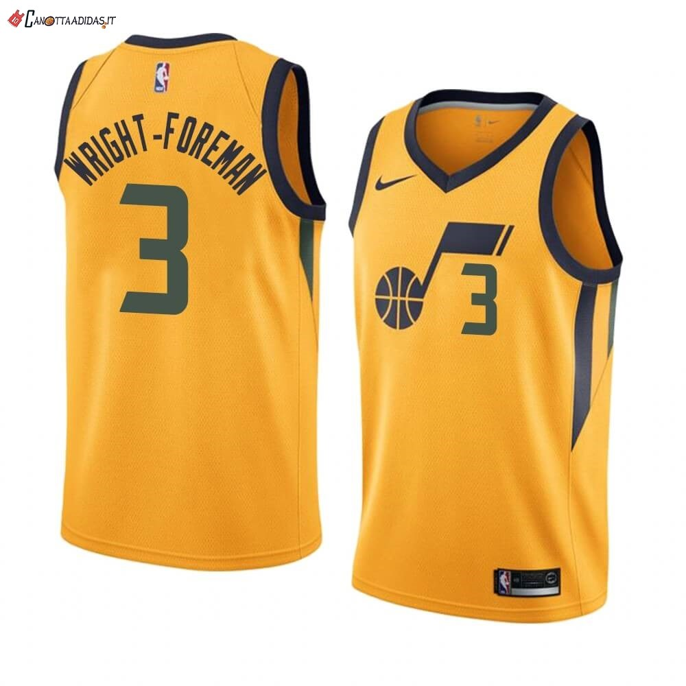 Hot- Maglia NBA Nike Utah Jazz NO.3 Justin Wright-Foreman Giallo Statement 2019-20
