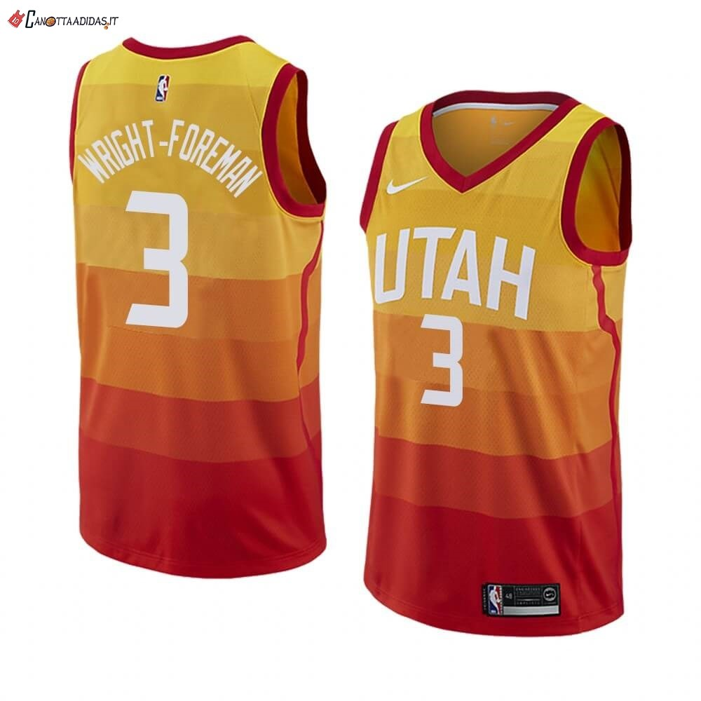 Hot- Maglia NBA Nike Utah Jazz NO.3 Justin Wright-Foreman Nike Giallo Ciuda 2019-20