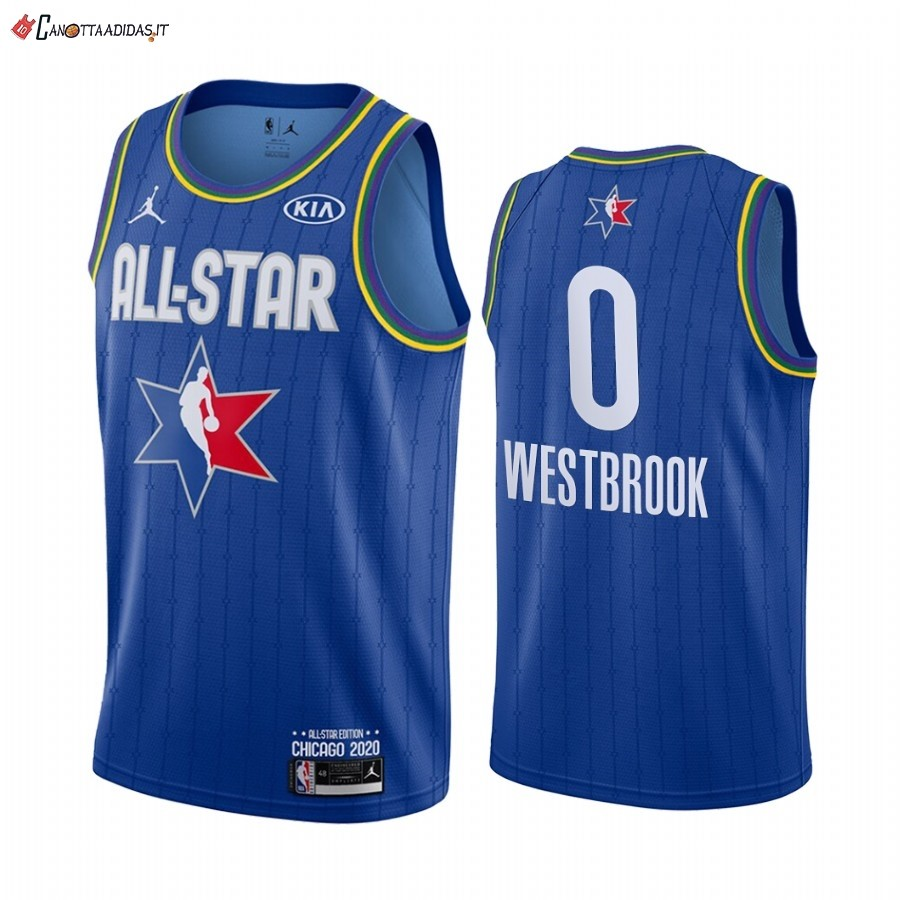 Hot- Maglia NBA 2020 All Star NO.0 Russell Westbrook Blu