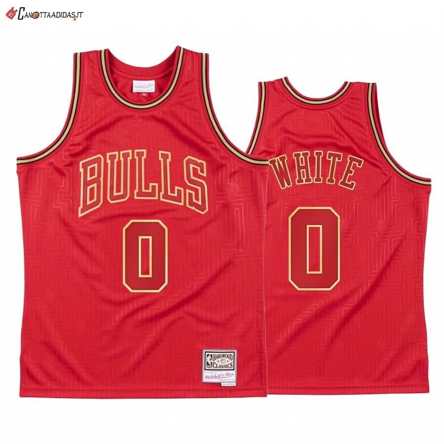 Hot- Maglia NBA CNY Throwback Chicago Bulls NO.0 Coby White Rosso 2020