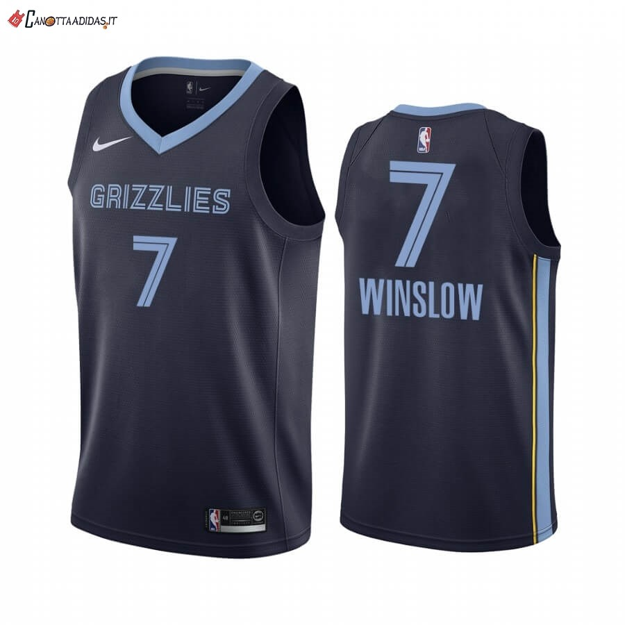 Hot- Maglia NBA Nike Menphis Grizzlies NO.7 Justise Winslow Marino Icon 2019-20