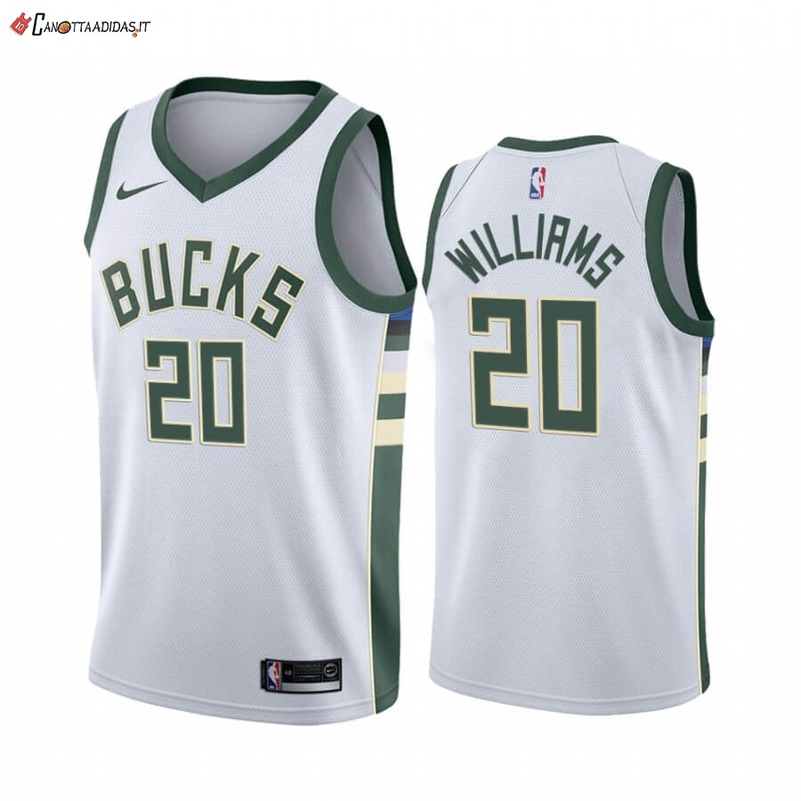 Hot- Maglia NBA Nike Milwaukee Bucks NO.20 Marvin Williams Bianco Association 2019-20