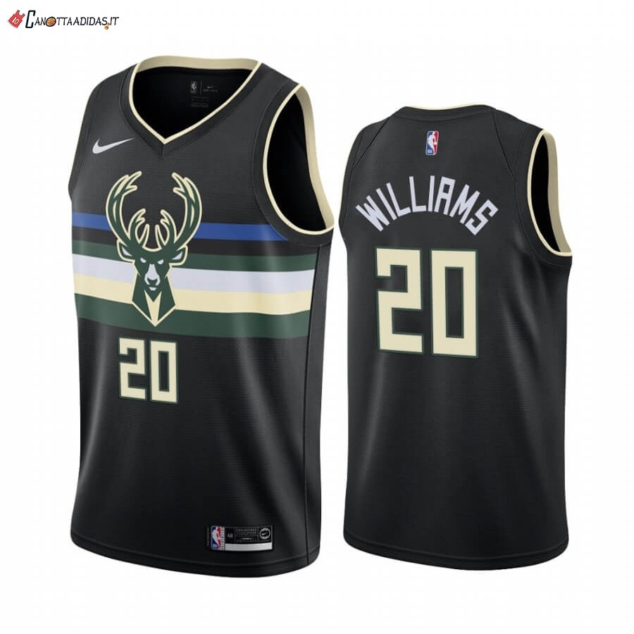 Hot- Maglia NBA Nike Milwaukee Bucks NO.20 Marvin Williams Nero Statement 2019-20