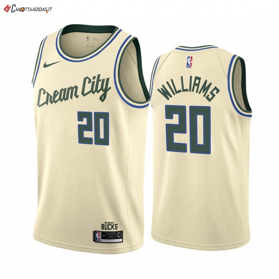 Hot- Maglia NBA Nike Milwaukee Bucks NO.20 Marvin Williams Nike Crema Città 2019-20