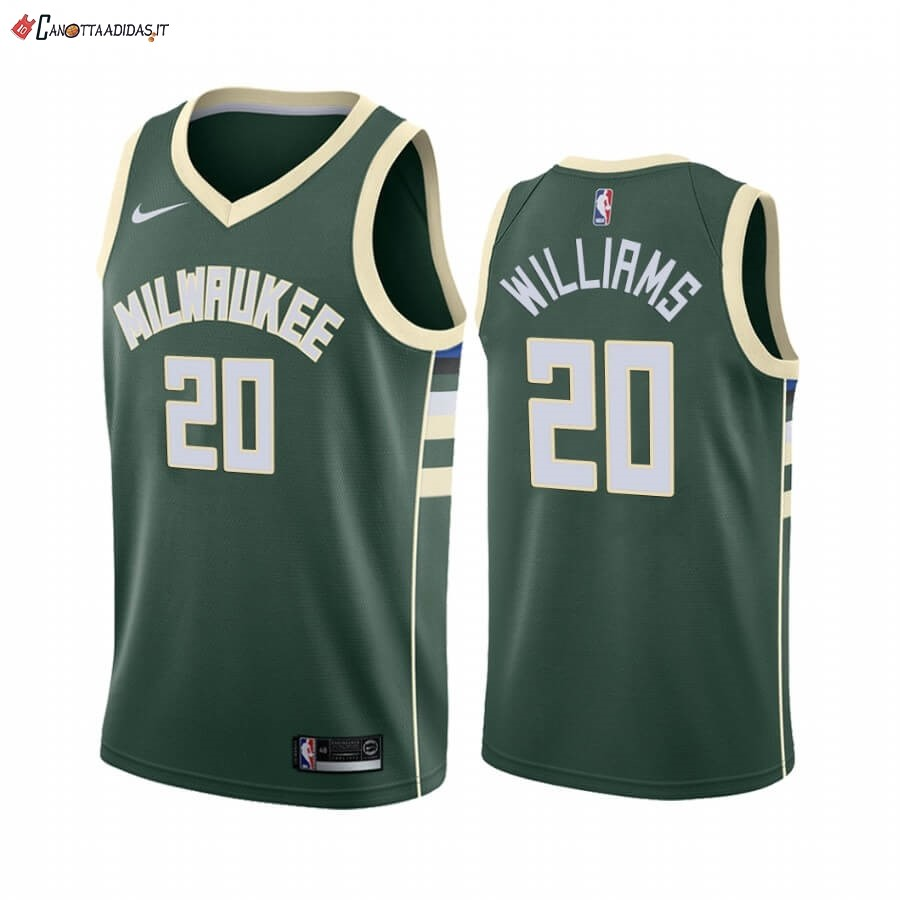 Hot- Maglia NBA Nike Milwaukee Bucks NO.20 Marvin Williams Verde Icon 2019-20