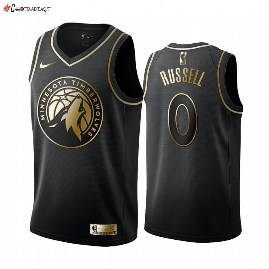Hot- Maglia NBA Nike Minnesota Timberwolves NO.0 D'angelo Russell Oro Edition 2019-20