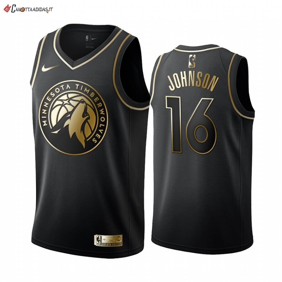 Hot- Maglia NBA Nike Minnesota Timberwolves NO.16 James Johnson Oro Edition 2019-20