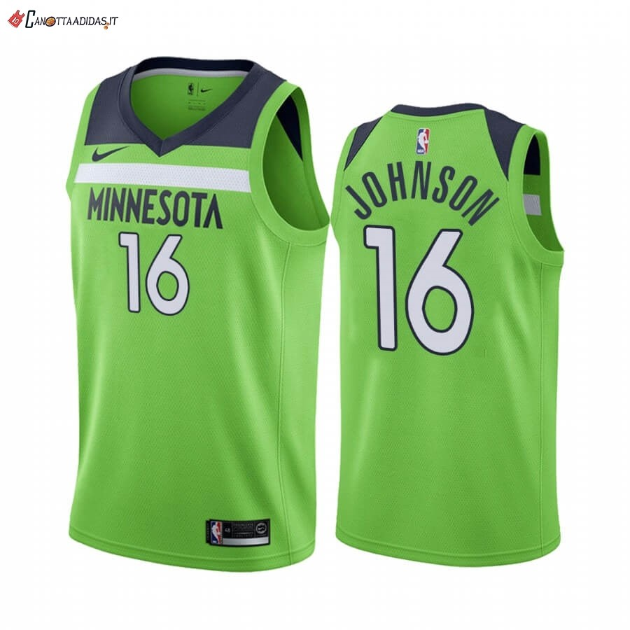 Hot- Maglia NBA Nike Minnesota Timberwolves NO.16 James Johnson Verde Statement 2019-20