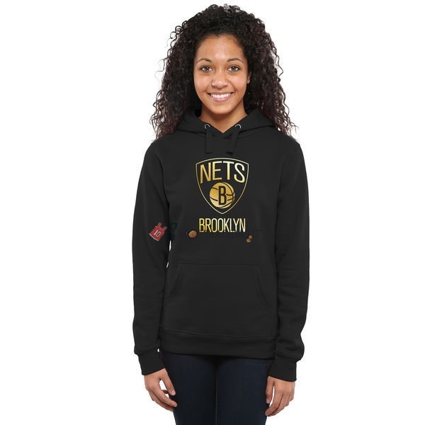 Hot- Felpe Con Cappuccio NBA Donna Brooklyn Nets Nero Oro