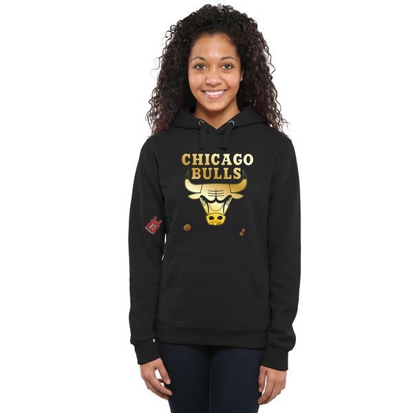 Hot- Felpe Con Cappuccio NBA Donna Chicago Bulls Nero Oro