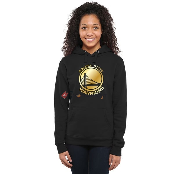 Hot- Felpe Con Cappuccio NBA Donna Golden State Warriors Nero Or
