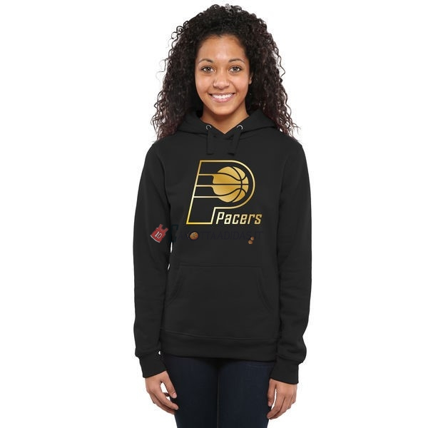 Hot- Felpe Con Cappuccio NBA Donna Indiana Pacers Nero Oro