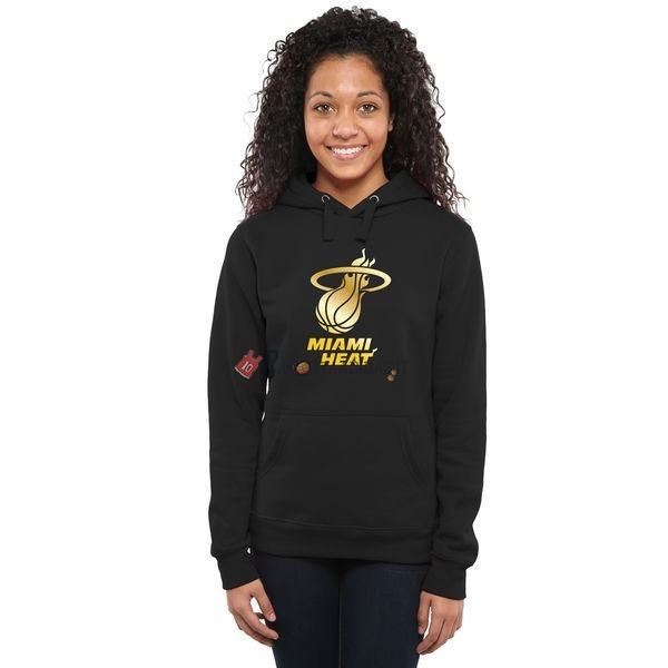 Hot- Felpe Con Cappuccio NBA Donna Miami Heat Nero Oro