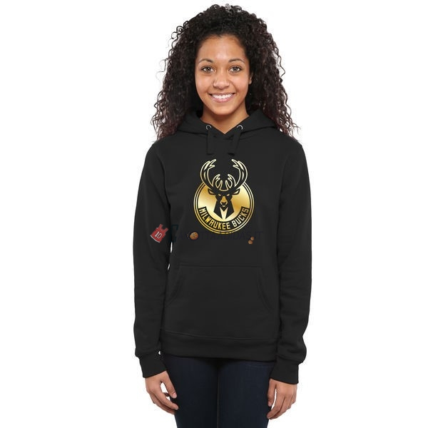 Hot- Felpe Con Cappuccio NBA Donna Milwaukee Bucks Nero Oro