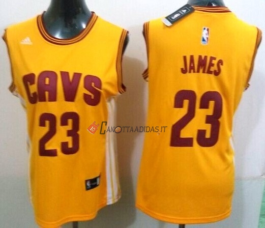 Hot- Maglia NBA Donna Cleveland Cavaliers NO.23 LeBron James Giallo Striscia