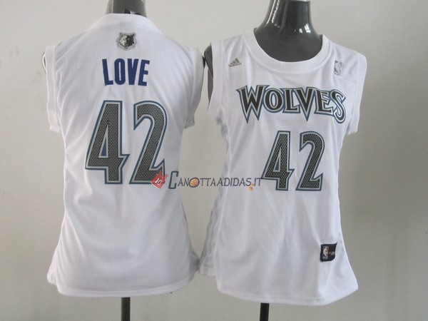 Hot- Maglia NBA Donna Minnesota Timberwolves NO.42 Kevin Love Bianco