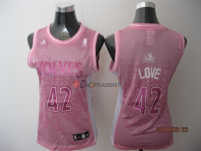 Hot- Maglia NBA Donna Minnesota Timberwolves NO.42 Kevin Love Rose