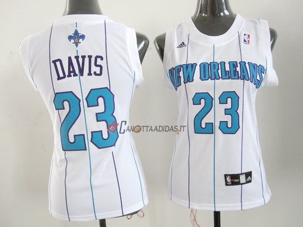 Hot- Maglia NBA Donna New Orleans Pelicans NO.23 Anthony Davis Bianco