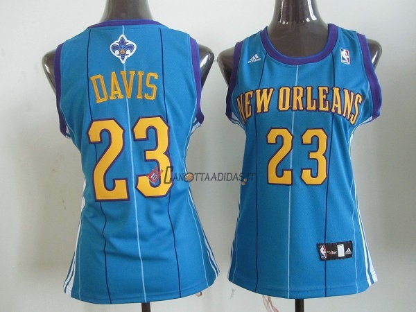 Hot- Maglia NBA Donna New Orleans Pelicans NO.23 Anthony Davis Blu