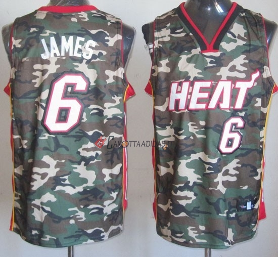 Hot- Maglia NBA 2013 Camouflage Moda NO.6 James