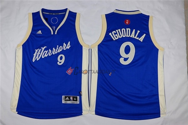 Hot- Maglia NBA Bambino 2015 Natale Golden State Warriors NO.9 Andre Iguodala Blu