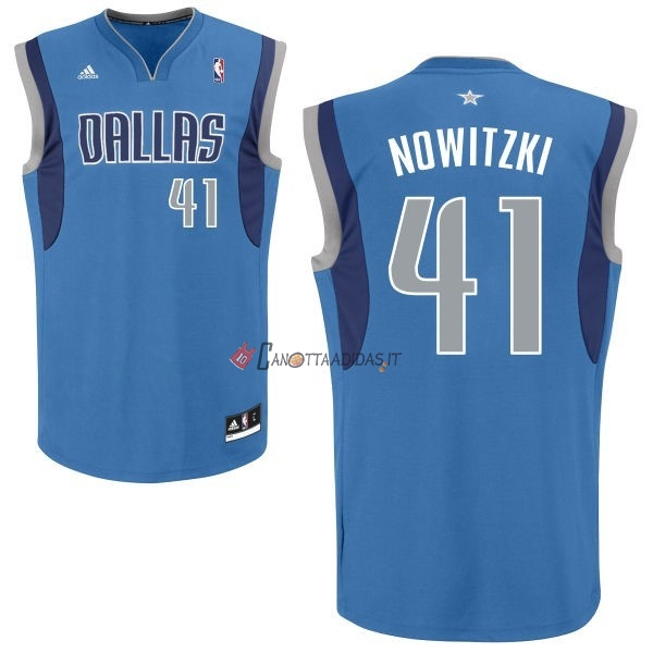 Hot- Maglia NBA Dallas Mavericks NO.41 Dirk Nowitzki Blu