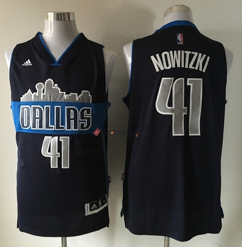 Hot- Maglia NBA Dallas Mavericks NO.41 Dirk Nowitzki Nero
