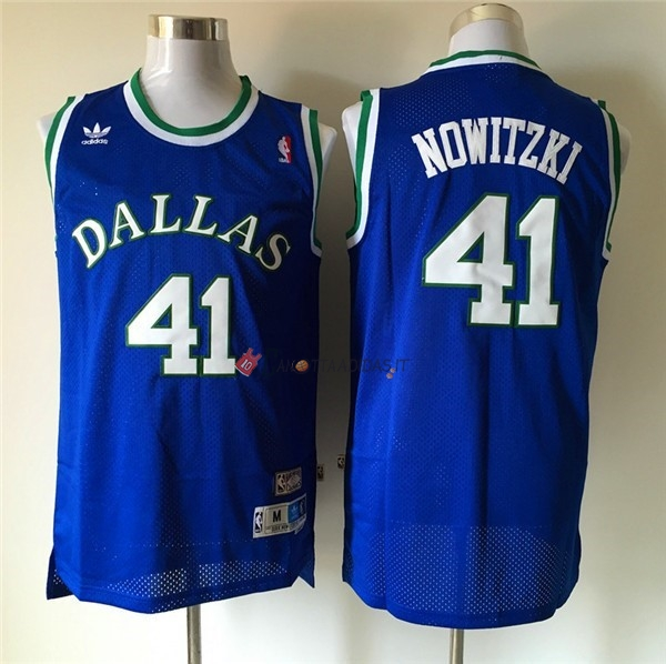Hot- Maglia NBA Dallas Mavericks NO.41 Dirk Nowitzki Retro Blu