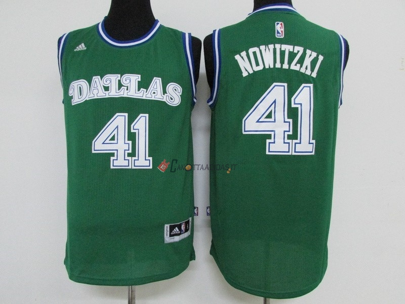 Hot- Maglia NBA Dallas Mavericks NO.41 Dirk Nowitzki Verde