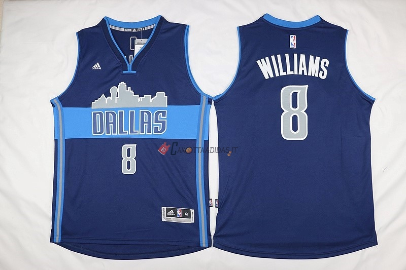 Hot- Maglia NBA Dallas Mavericks NO.8 Deron Michael Williams Blu Profundo