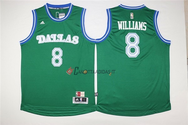 Hot- Maglia NBA Dallas Mavericks NO.8 Deron Michael Williams Verde