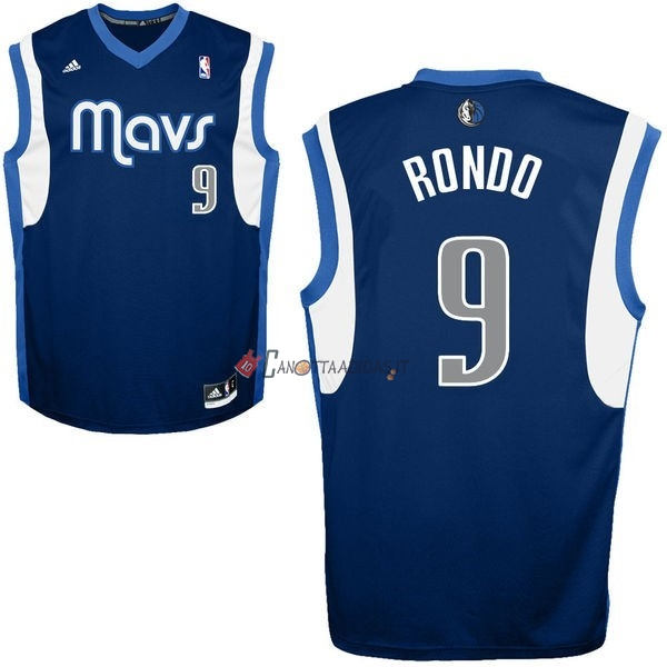 Hot- Maglia NBA Dallas Mavericks NO.9 Rajon Rondo Blu Profundo