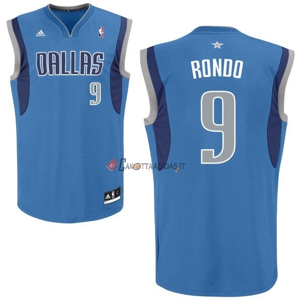Hot- Maglia NBA Dallas Mavericks NO.9 Rajon Rondo Blu