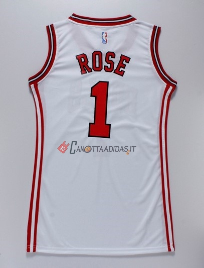Hot- Maglia NBA Donna Chicago Bulls NO.1 Derrick Rose Bianco