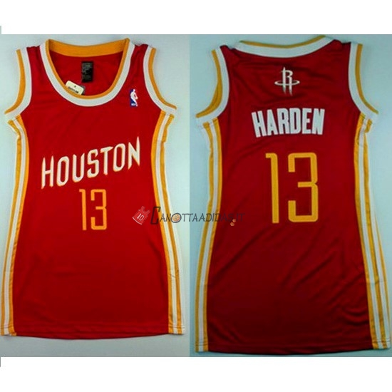 Hot- Maglia NBA Donna Houston Rockets NO.13 James Harden Retro Rosso