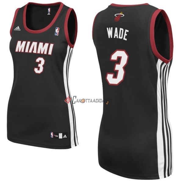 Hot- Maglia NBA Donna Miami Heat NO.3 Dwyane Wadet Nero