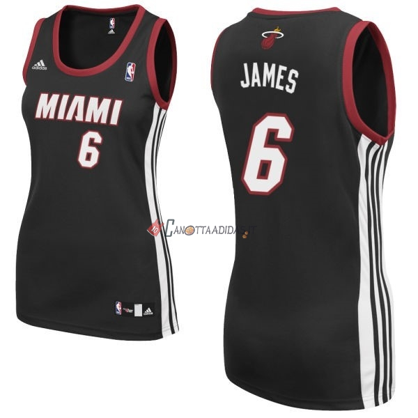 Hot- Maglia NBA Donna Miami Heat NO.6 LeBron James Nero
