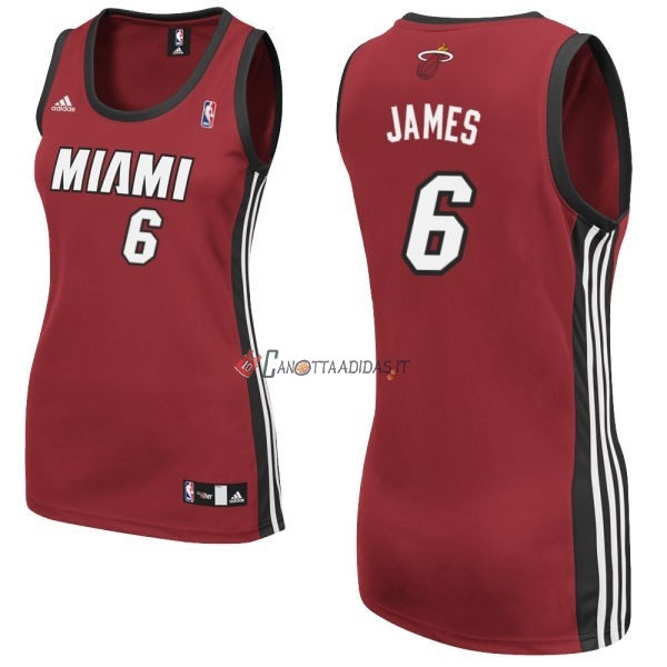 Hot- Maglia NBA Donna Miami Heat NO.6 LeBron James Rosso