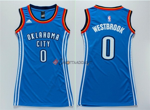 Hot- Maglia NBA Donna Oklahoma City Thunder NO.0 Russell Westbrook Blu