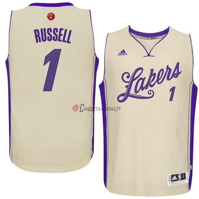Hot- Maglia NBA Los Angeles Lakers 2015 Natale NO.1 Russell Bianco