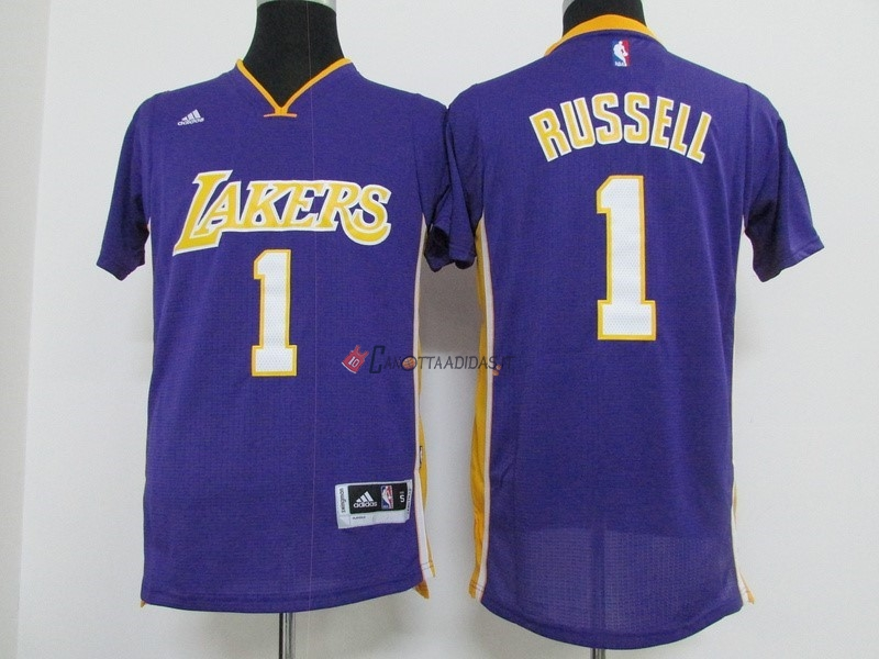 Hot- Maglia NBA Los Angeles Lakers Manica Corta NO.1 D'Angelo Russell Porpora