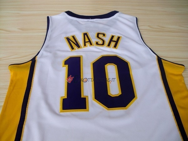 Hot- Maglia NBA Los Angeles Lakers NO.10 Steve Nash Bianco