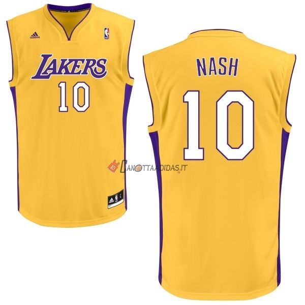 Hot- Maglia NBA Los Angeles Lakers NO.10 Steve Nash Giallo