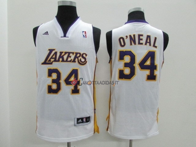 Hot- Maglia NBA Los Angeles Lakers NO.34 Shaquille O'Neal Bianco