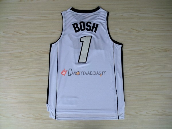 Hot- Maglia NBA Miami Heat NO.1 Chris Bosh Bianco
