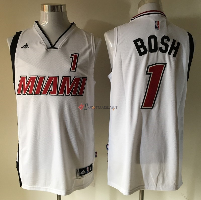 Hot- Maglia NBA Miami Heat NO.1 Chris Bosh Retro Bianco