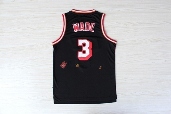 Hot- Maglia NBA Miami Heat NO.3 Dwyane Wade Retro Nero