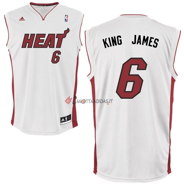 Hot- Maglia NBA Miami Heat NO.6 King James Bianco