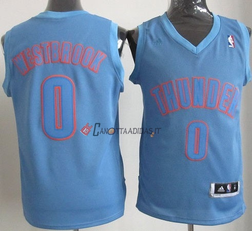 Hot- Maglia NBA Oklahoma City Thunder 2012 Natale NO.0 Westbrook Blu