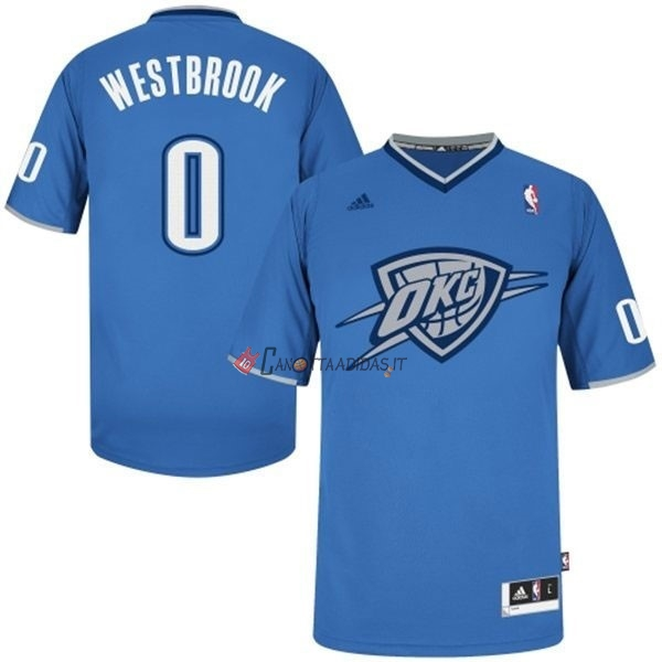 Hot- Maglia NBA Oklahoma City Thunder 2013 Natale NO.0 Westbrook Blu